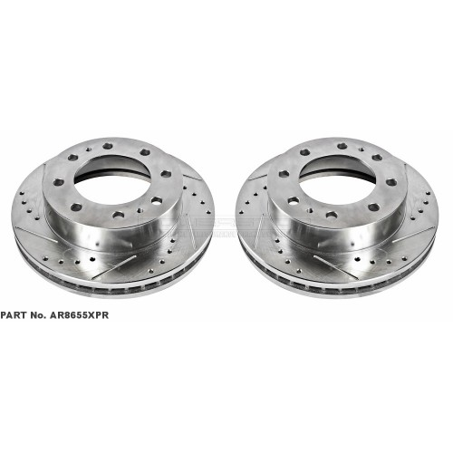 1999-2004 F250/F350/F450/Excursion Power Stop Drilled & Slotted Front Brake Rotors