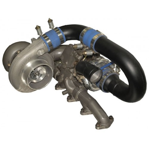 Super B Twin Turbo Kit w/FMW Billet Wheel on Secondary - Dodge 2003-2007 5.9L