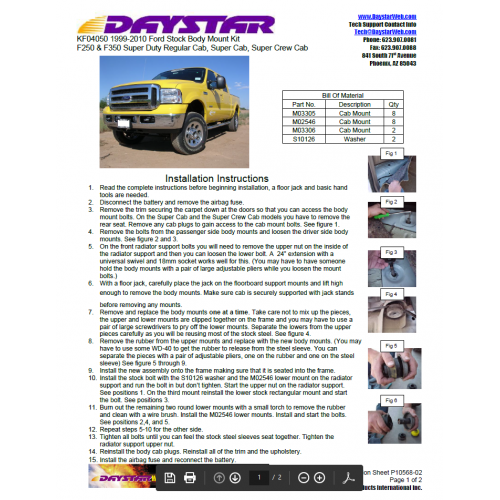 DAYSTAR 1999-2017 FORD F-250 F-350 FACTORY REPLACEMENT BODY/CAB MOUNTS