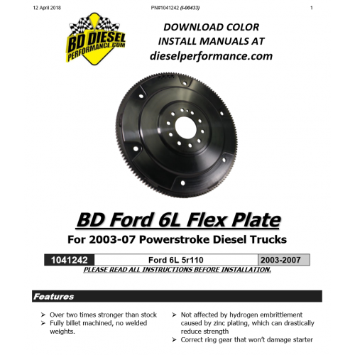 BD 6.0L Powerstroke Flexplate 5R110 Ford 2003-2007 1041242